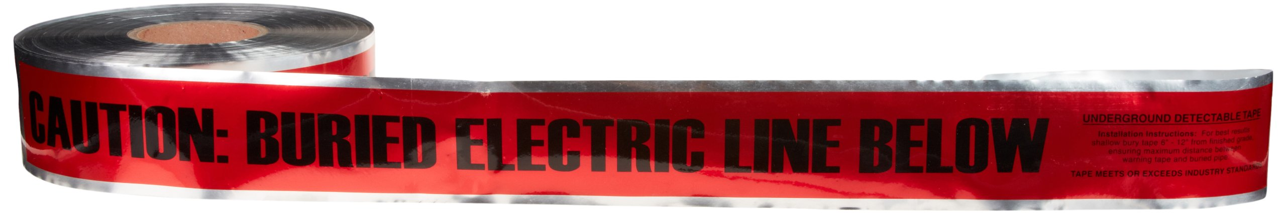Underground Line Tape, Legend''Caution Buried Electric Line Below'', 1000' Length x 6'' Width, Red