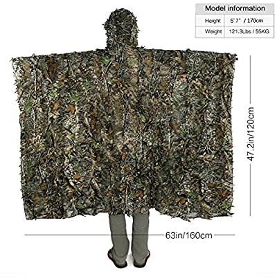 antWalking Outdoor 3D Leaves Camouflage Ghillie Poncho Camo Cape Cloak Stealth Ghillie Suit Military CS Woodland Hunting Clothing
