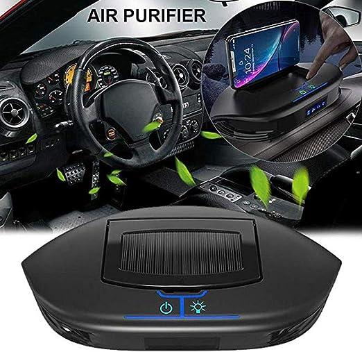 Purificador de aire solar para coche con soporte para teléfono celular, generato de iones negativos portátil para coche, oficina, escritorio, para eliminar el polvo de humo PM2.5 gérmenes de alergias: Amazon.es: Hogar