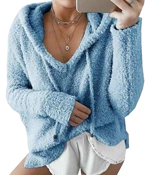 Amazon.com: Las mujeres de manga larga Pullover Hoodie sudadera POLAR FUZZY bolsillos de chaquetas Outwear: Clothing