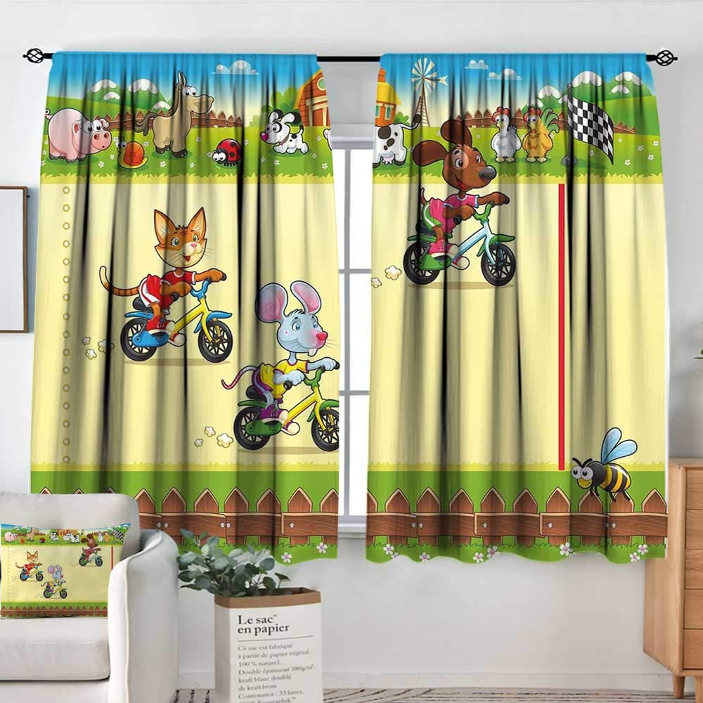 color11 63 W x 63 L Decor Waterproof Window Curtain Kids,Set of Drawings Different Cartoon Style Characters Cute Monsters Funny Animals Mutants,Multicolor,Darkening and Thermal Insulating Draperies 42 x54