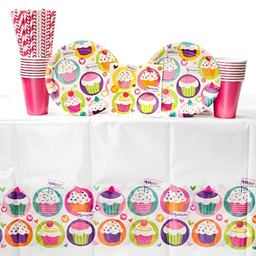 Cupcake Birthday Party Supplies Pack for 16 Guests: Straws, Dessert Plates, Beverage Napkins, Table Cover, and Cups]()