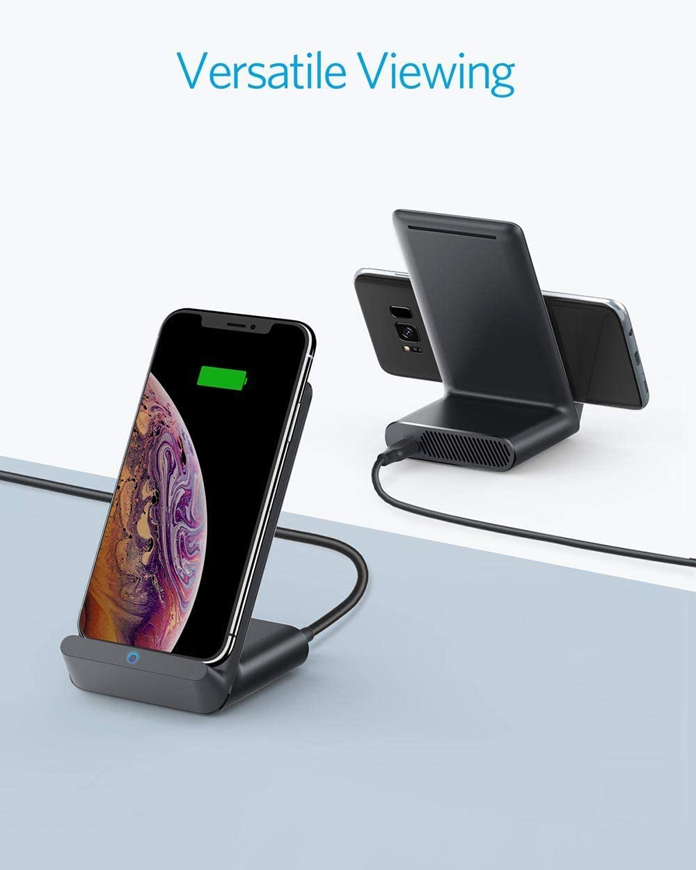with Quick Charge Adapter Renewed Qi-Certified, / Anker PowerWave 7.5 Fast Wireless Charging Stand with Internal Cooling Fan /