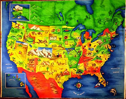 ESPECIALLY FOR YOU MAP 4735 Colorful Map Of the United States Showing Each State Capital Cotton Fabric by ESPECIALLY FOR YOU MAP 4735