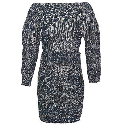 Navy Melange Fringe Overlay Belted Knit Dress 7-8 (Belted Knit Dress)