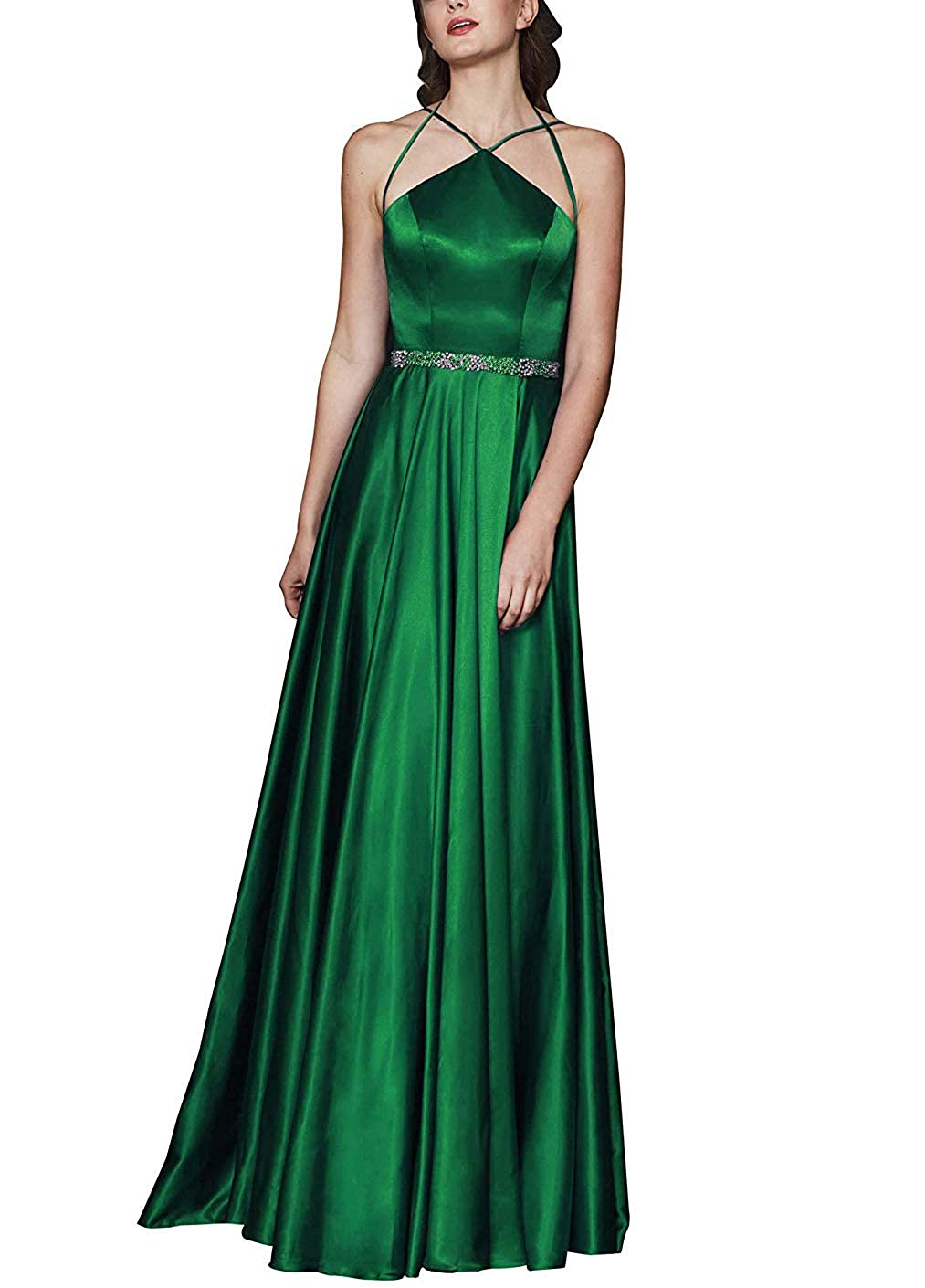 Emerald Green Elegant Beaded Halter Satin Long Prom Dresses Formal Evening Celebrity Dress