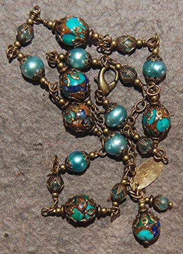 Wire wrapped solid brass semi precious multi colored jasper, teal fresh water pearls and semi precious apatite beaded necklace