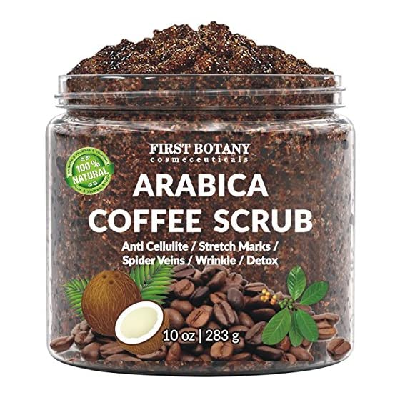 100% Natural Arabica Coffee Scrub with Organic Coffee, Coconut and Shea Butter - Best Acne, Anti Cellulite and Stretch…