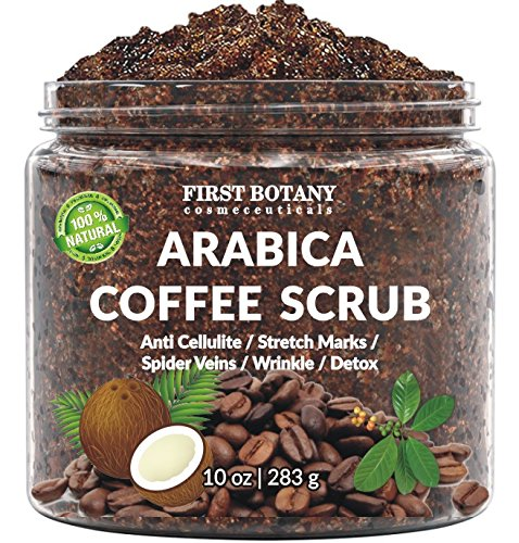 5dced513577 Amazon.com : 100% Natural Arabica Coffee Scrub with Organic Coffee, Coconut  and Shea Butter - Best Acne, Anti Cellulite and Stretch Mark treatment, ...