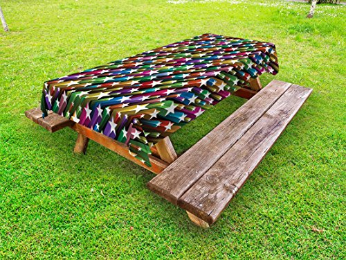 Ambesonne Colorful Outdoor Tablecloth, Colorful Stars Pattern Celebration Theme Disco and Nightclubs Artistic Jolly Fun, Decorative Washable Picnic Table Cloth, 58 X 120 Inches, Multicolor from Ambesonne