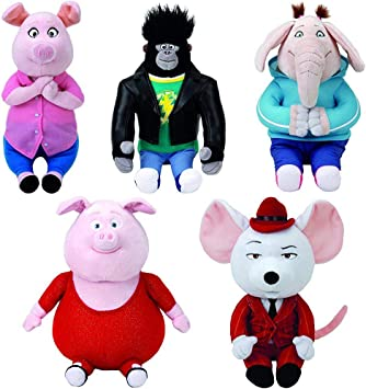Set Of 5 Sing Characters From The Movie Johnny Mike Gunter Rosita And Meena Great As Big Gift Or To Give Out To Everyone Classic Ty