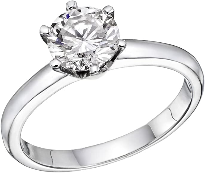 Certified 2CT Round cut Diamond Solid 14K White Gold Women Engagement Ring