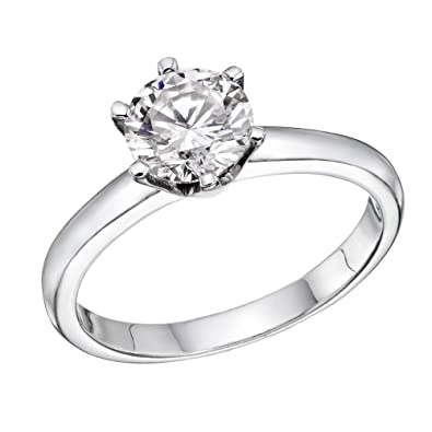 e56cf988acd30 6MM Swarovski CZ Engagement ring Round Brilliant Cut 14k White Gold