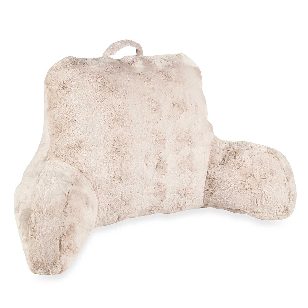 Faux Fur Backrest Pillow with Arms in Taupe