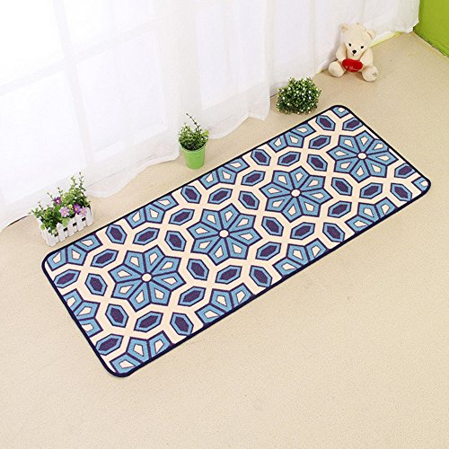 Ustide Bohemian Kitchen Rug Bedroom Bedside Rug Durable Door Mat Washable Bathroom Rug Floor Runner Blue, 20''x48''