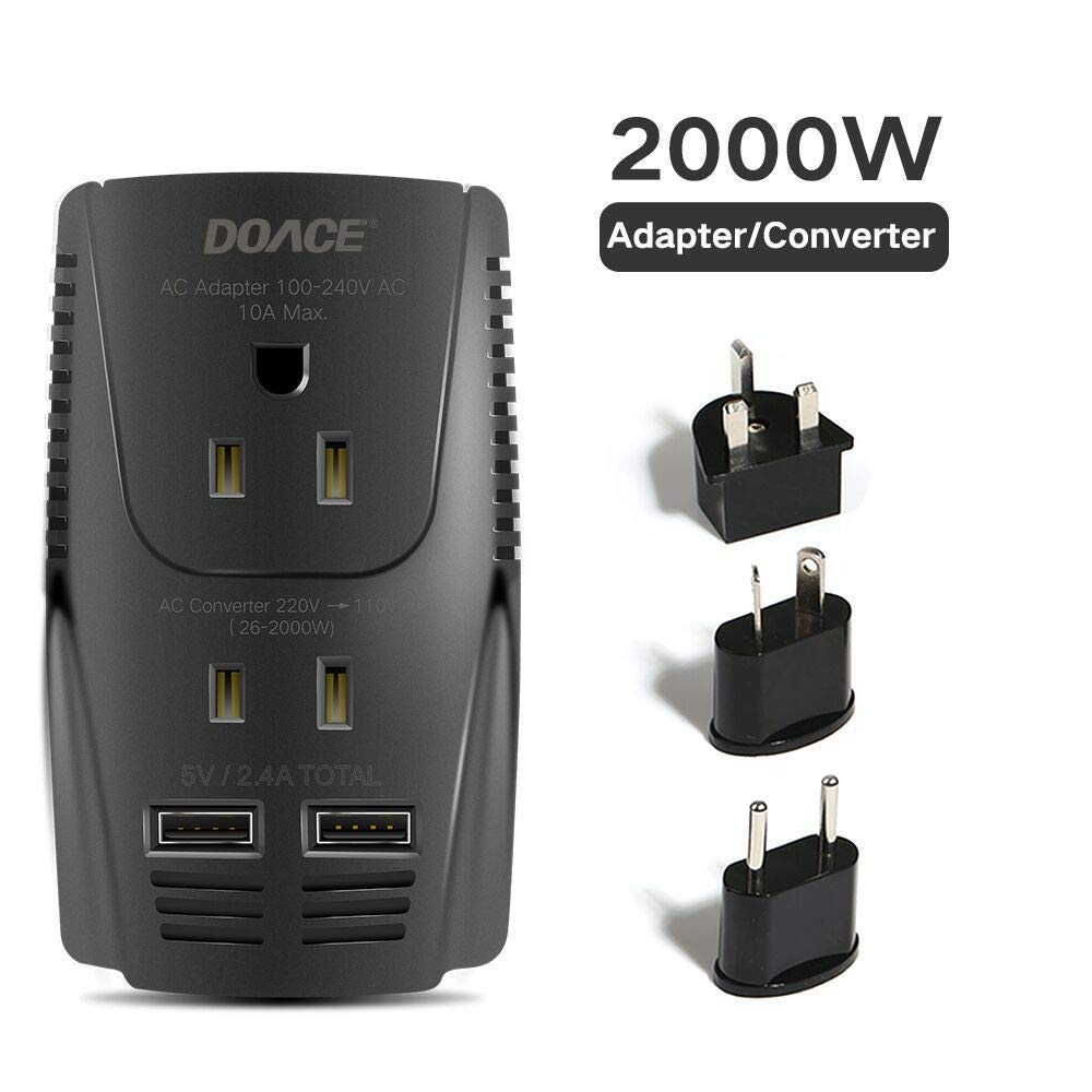 DOACE 2000W Voltage Converter for Hair Dryer Straightener Curling Iron, Step Down 220V to 110V Power Converter, Dual USB for Cell Phone, Laptop, Travel Adapter for UK/AU/US/EU Over 190 Countries by DOACE