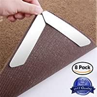 DEALIKEE Rug Grippers with Reusable Carpet Tape, Anti Curling Rug Gripper Keeps Your Rug in Place & Makes Corners Flat.