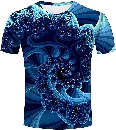 Camiseta de Manga Corta para Hombre, diseño Abstract Floral, con Espiral, de fantasía, Summer a Medium: Amazon.es: Ropa y accesorios
