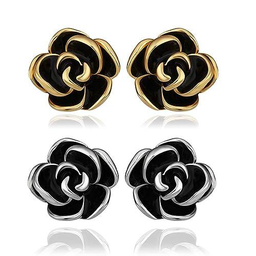 db54a1ade 18K White Gold Yelow Gold Plated Stud Earrings,Hollowed Black Rose Flower/Butterfly  CZ Cubic Zircon Hypoallergenic Studs For Women Teen Girls Sensitive Ears