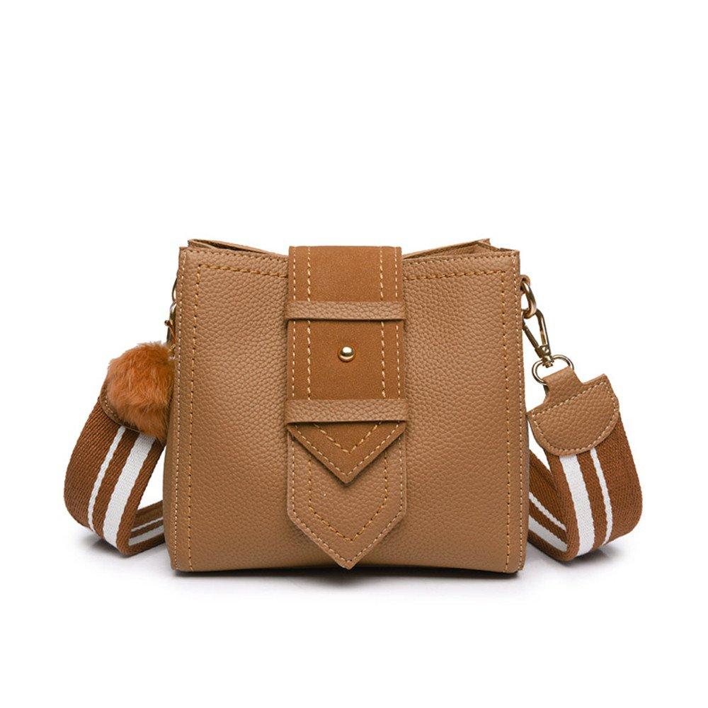 Kleine Tasche Umhä ngetasche Messenger Bag Schulterriemen Breite Bucket Bag, Braun