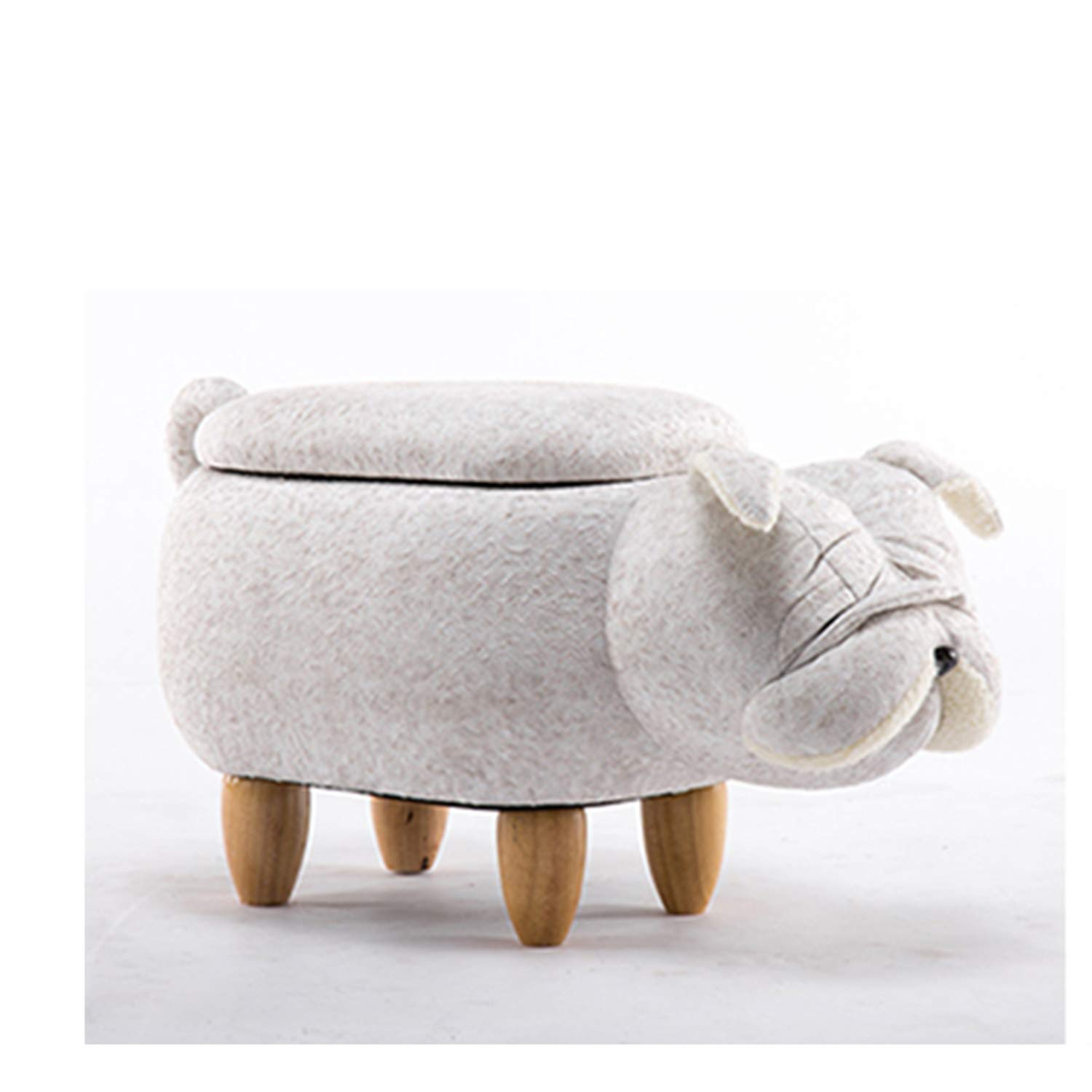 QYQCX Puppy Footstool, Children's Storage Stool, Soft Seat, Makeup Stool, Ottoman for Change Shoes White
