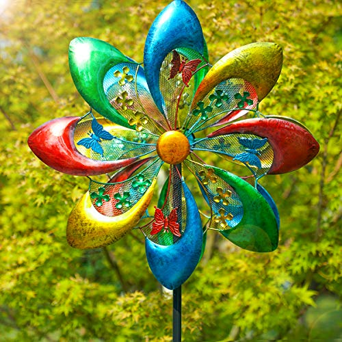 Sowsun Wind Spinner Outdoor, Colorful Flower 8-Blade Metal, Wheel Spinner, Dual Rotors Wind Sculpture for Yard Art or Garden Decoration