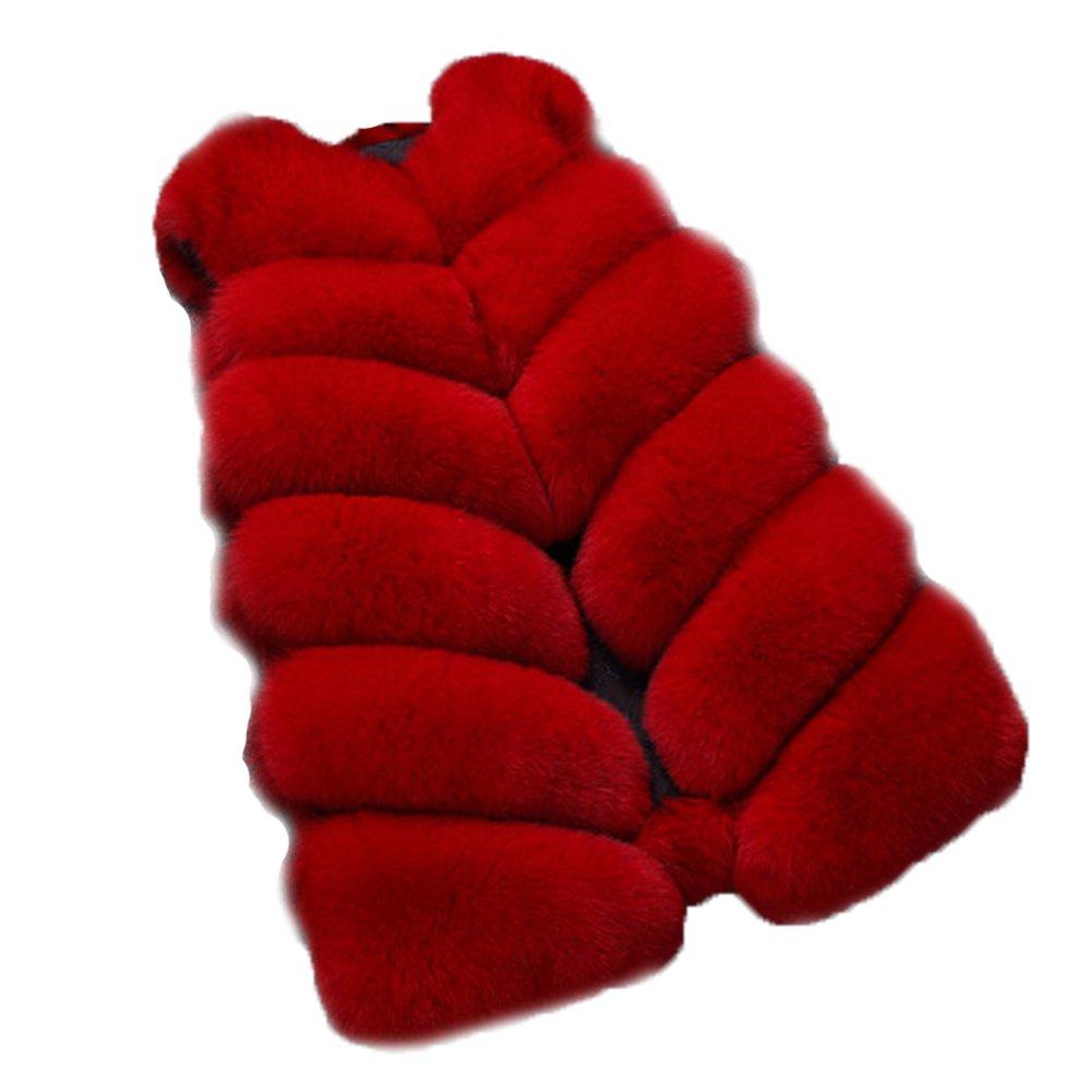 FOLOBE Womens' Winter Warm Faux Fur Vest Coat Jacket WP011