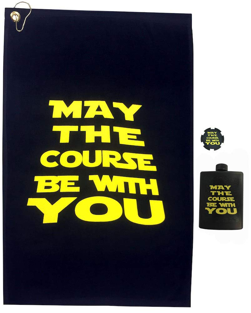 Giggle Golf May The Course Be with You Golf Towel & Poker Chip with A May The Course Flask by Giggle Golf