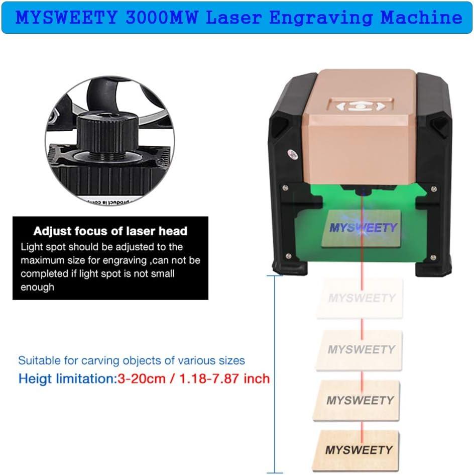 /área de trabajo 80 x 80 mm para logotipo de bricolaje 3000 mW M/áquina de grabado para escritorio MYSWEETY 3000 mW