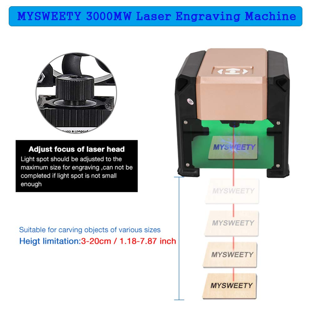 Laser Engraver, MYSWEETY 3000MW Mini DIY Laser Engraving Machine, Desktop Laser Engraver Printer, CNC Laser Carving Machine for Wood, Plastic, Bamboo, Rubber, Leather(Working Area: 8x8cm) by MYSWEETY (Image #3)