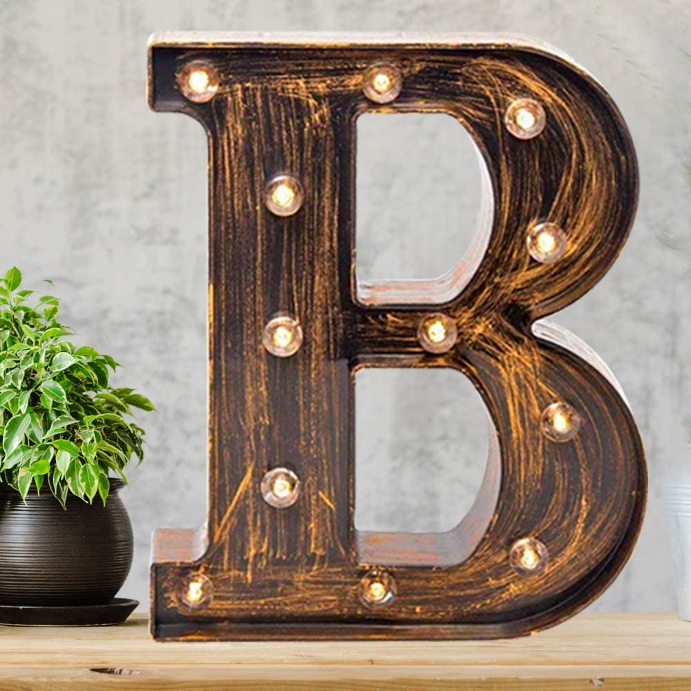 Pooqla Vintage Light Up Marquee Letters with Lights – Illuminated Industrial Style Lighted Alphabet Letter Signs - Coffee Bar Apartment Bedroom Wall Home Initials Decor A-Z