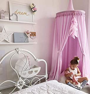Bed Canopy Round Dome with tassel, Big Size Cotton Bed Canopy, Cotton Mosquito Net, Bed Canopy for Reading Room, Kids Bedroom Decoration, 60 * 240cm (White)