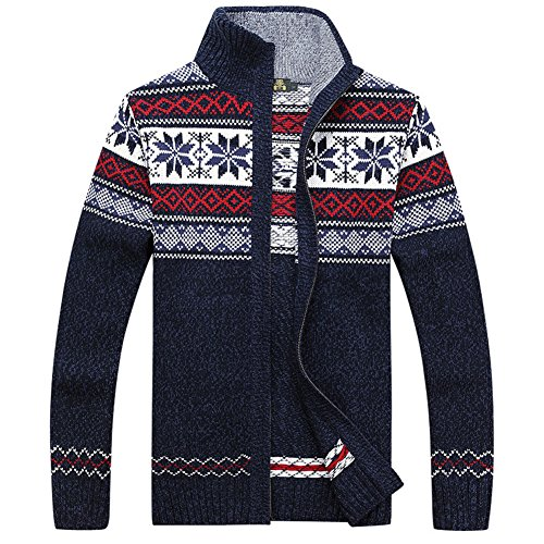 Casual Men's Thick Knitted Zipper Cardigan Sweater with Pattern (Large, (Pattern Zipper)