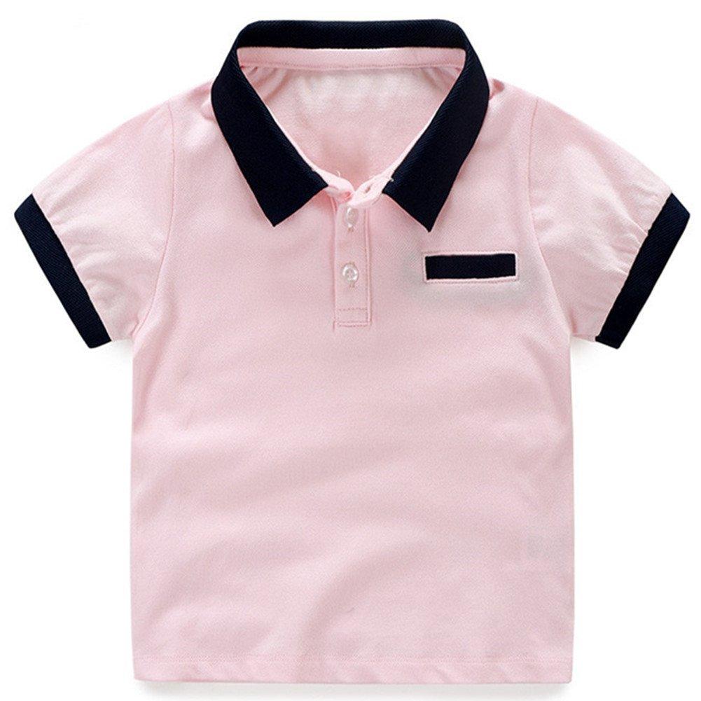 LittleSpring Little Boys' Polo T-Shirt Buttons