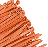 "AMPLEXPO -8"" Standard Cable/Zip Ties (100 pieces) (50lb. strength) (Fluorescent Orange)"