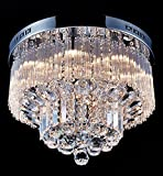 Saint Mossi Modern K9 Crystal Raindrop Chandelier Lighting Flush mount LED Ceiling Light Fixture Pendant Lamp for Dining Room Bathroom Bedroom Livingroom Width 45.7 x Height 30.5 cm