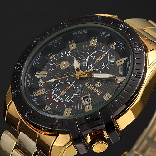 - Luxury Mens Black Dial Gold Stainless Steel Date Quartz Analog Sport Wrist Watch (Black)