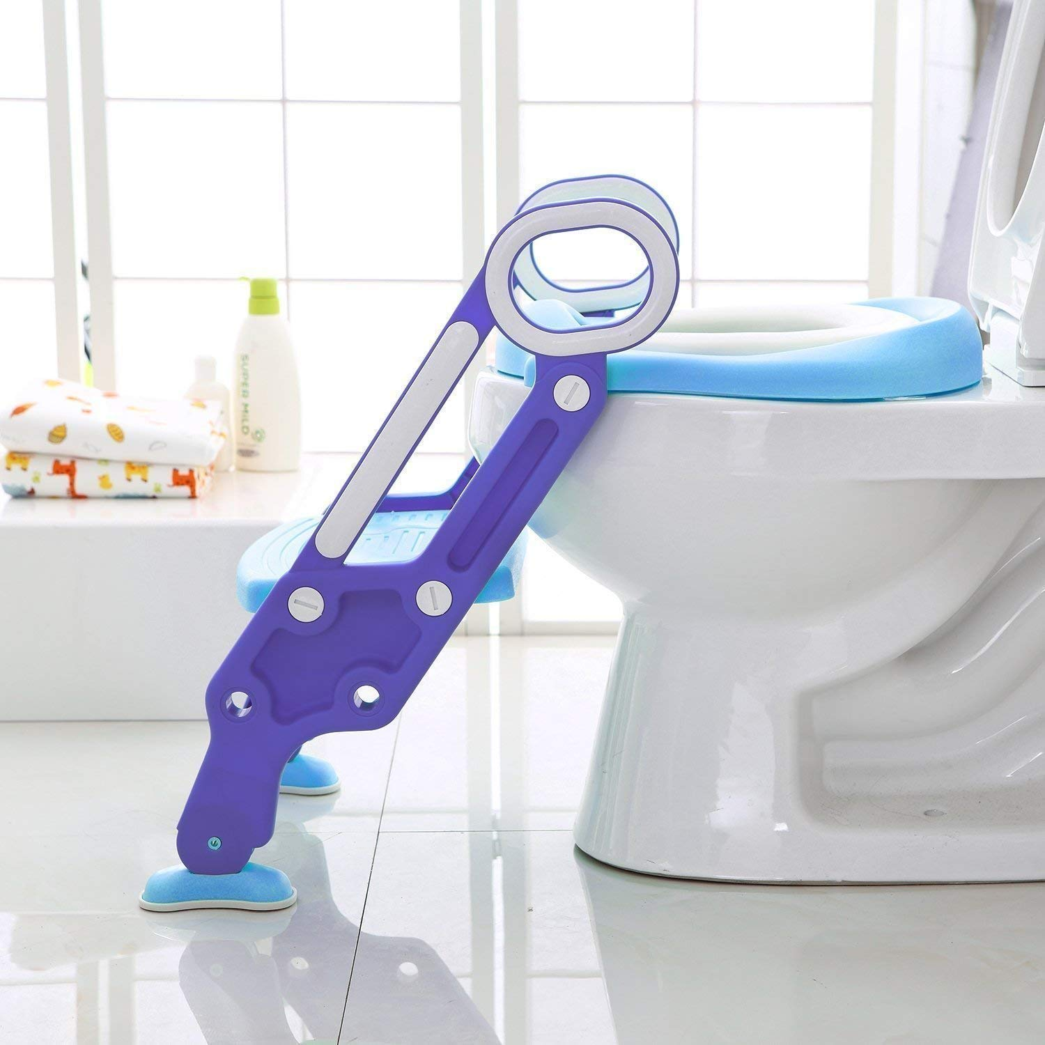 ZGWJ Potty Training Ladder Seat for Kids-Adjustable Stair Potty Seat with Soft Padded Seat and Sturdy Non-Slip Wide Step Anti-Splash Design for Boy and Girl Baby Toddler Kid Children/'s Toilet