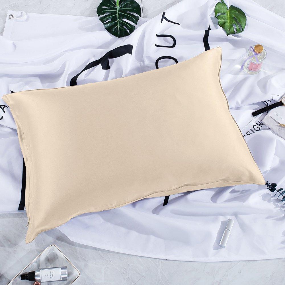 thxsilkシルク枕カバーfor Hair and skin-mulberryシルク枕cover-hypoallergenic with Hidden zipper-22匁天然Mulberryシルク両側に 標準 ブラウン W01W03522a B07BHLVXJX 標準|バニラ バニラ 標準
