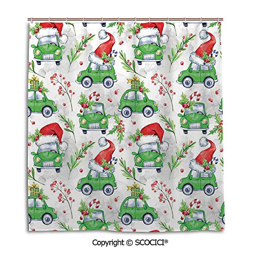 Simple bathroom curtain personality privacy convenience,66X72in,Cars,Noel New Year Celebrations Christmas Composition with Green Cars Santa Hats Decorative,Lime Green Scarlet,Used for bathing -