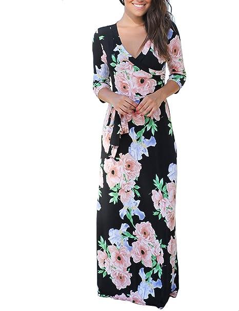 de7df61bcd2 Image Unavailable. Image not available for. Color  VIEWIM Women s Vintage  Floral Print 3 4 Sleeve V Neck Faux Wrap Summer Long Maxi