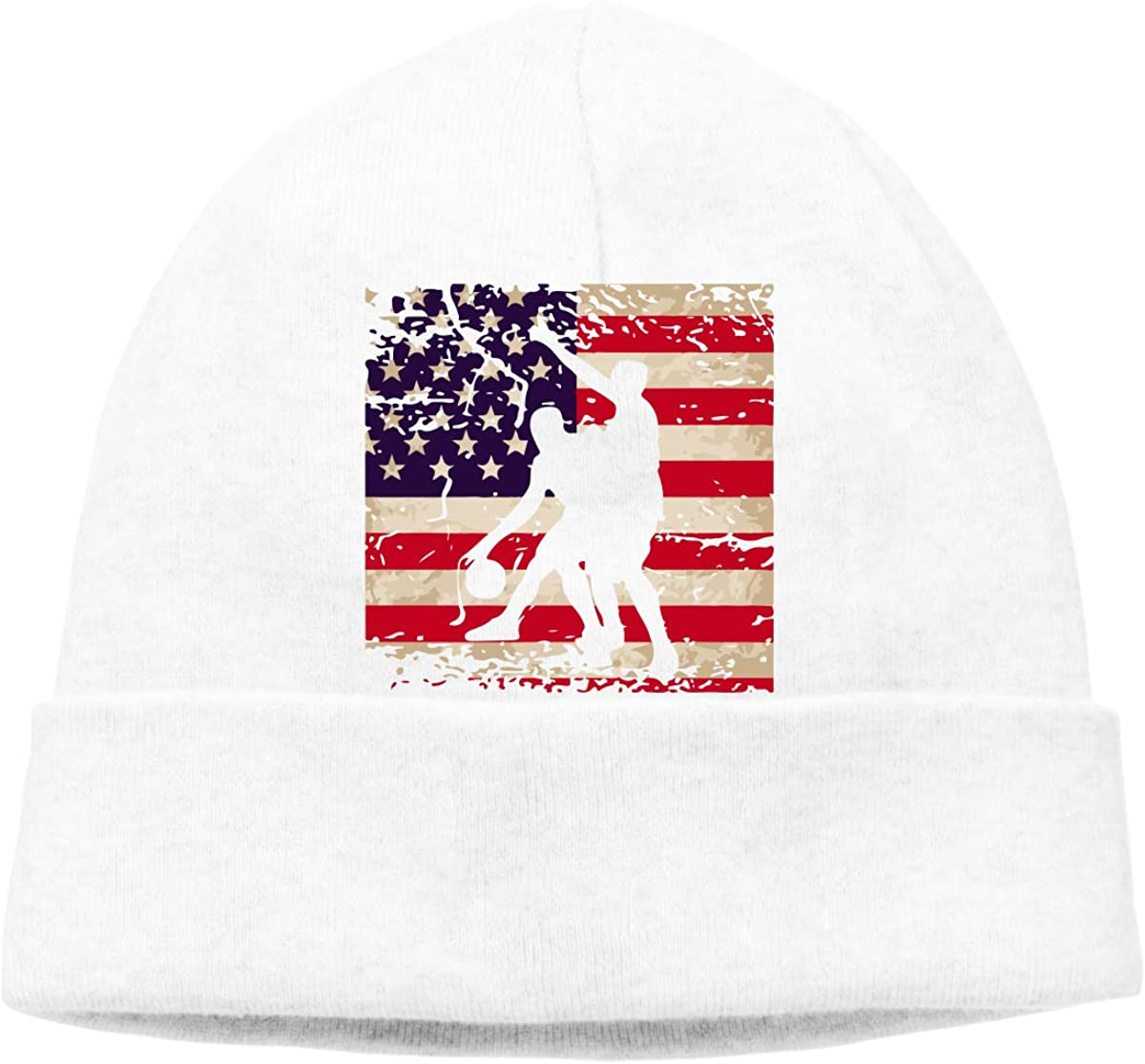 Mens and Womens Vintage American Flag Basketball Knit Cap Wool Skiing Cap