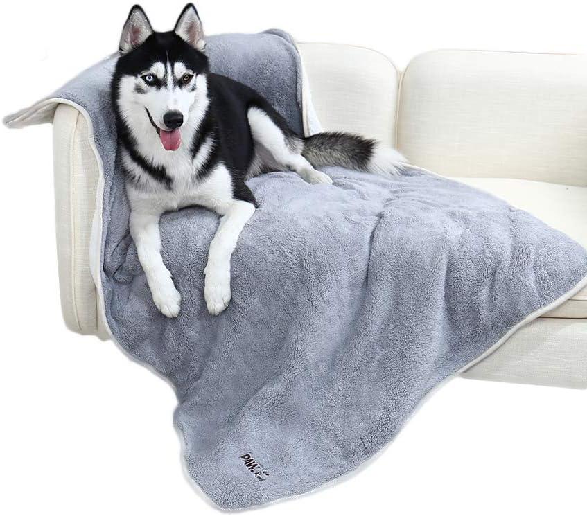PAWZ Road Manta para Perros Suave cálida Manta de Felpa Gruesa con Forro Polar, Suave y cálido para Perros y Gatos Gris (L 100X150 CM)