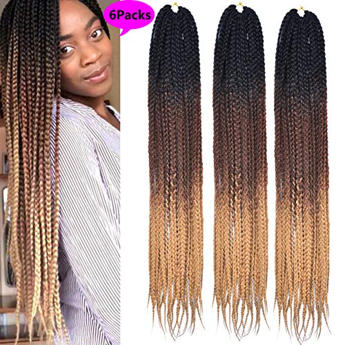 MSBELLE 6 Packs Ombre Box Braids Crochet Hair Extensions 3X Synthetic Crochet Braiding Hair Extensions 24 Inch 22 Strands 100g/Pack(Black-Deep Brown-Light Brown) ()