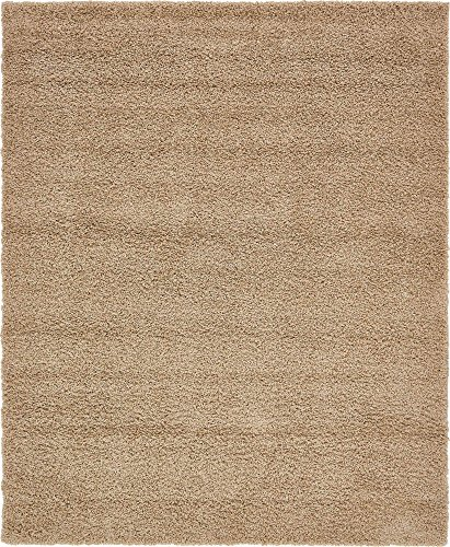 Unique Loom Solo Solid Shag Collection Modern Plush Taupe Area Rug (8' x 10') from Unique Loom