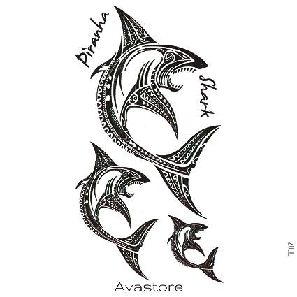 Tatuaje Temporal tiburón Maori tatuaje efímero tiburón Maori ...