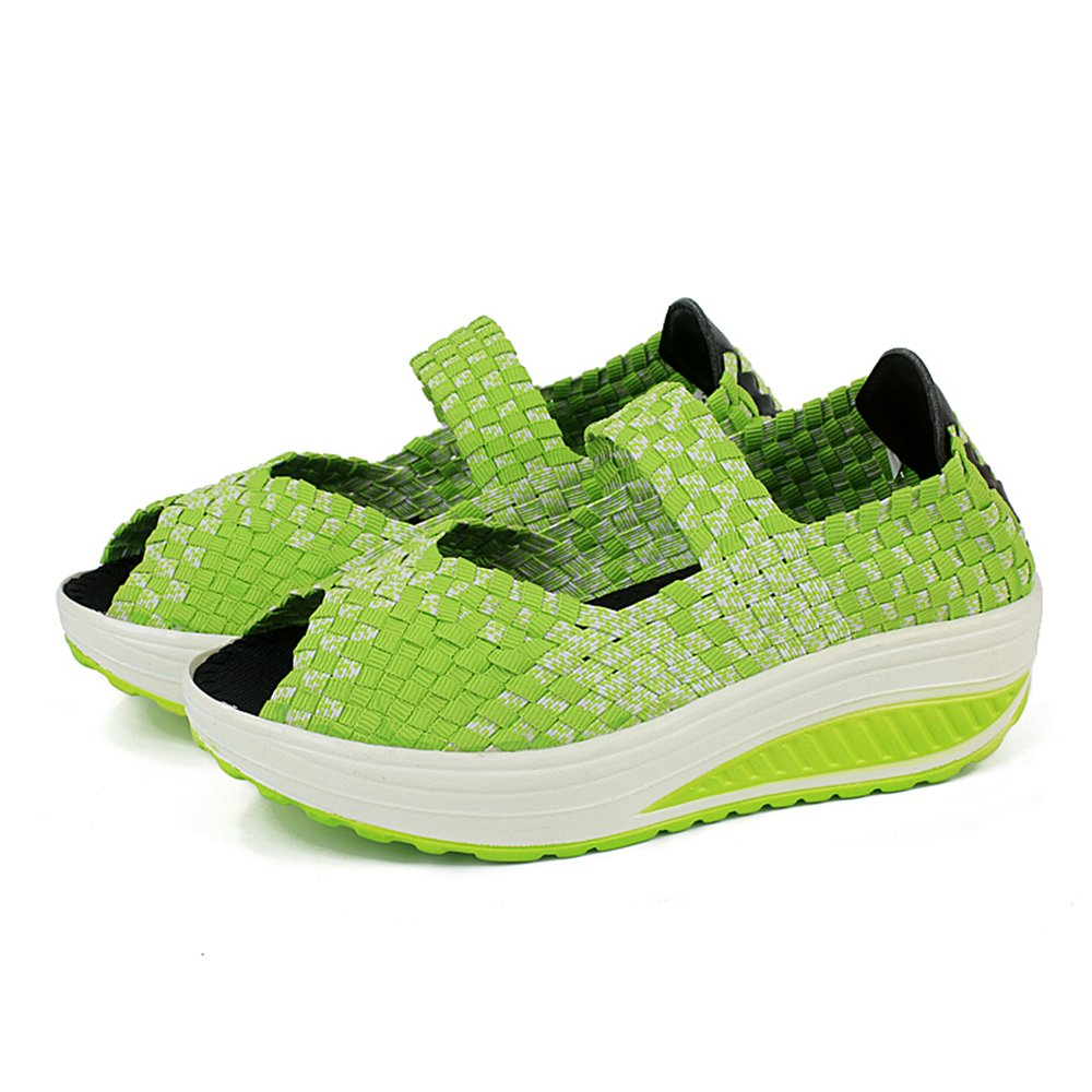 YMY Women's Woven Sneakers Casual Lightweight Sneakers - Breathable Running Shoes B07DXS1GQB EU40/9 B(M) US Women|Green3