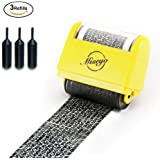 Miseyo Wide Roller Stamp Identity Theft Stamp 1.5 Inch Perfect for Privacy Protection - Yellow(Including 3 Refills)