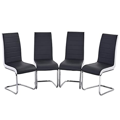 Wondrous Gizza Furniture Set Of 4 Premium Faux Leather Dining Chairs High Back With Solid Cantilever Chrome Legs Contemporary Design Black White Side Caraccident5 Cool Chair Designs And Ideas Caraccident5Info