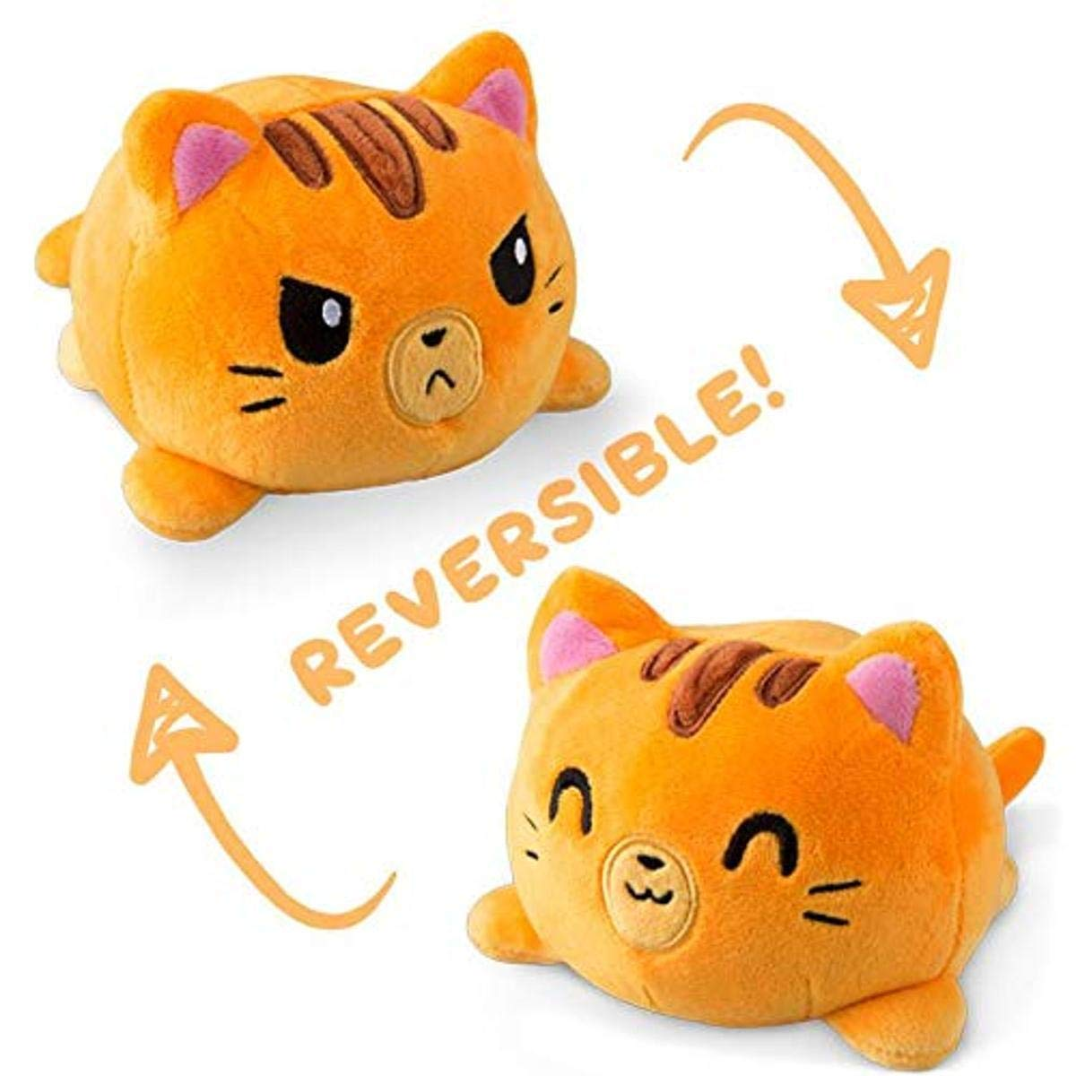 TeeTurtle | The Original Reversible Cat Plushie | Patented Design | Orange Tabby | Show Your Mood Without Saying a Word!